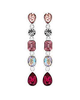 Silver Plated Pink Mixed Shape Linear Drop Earring