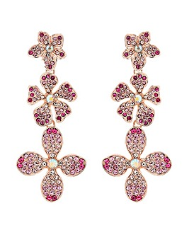 Mood Tonal Pink Floral Pave Drop Earring