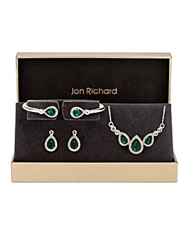 Jon Richard Silver Green Pear Trio Set