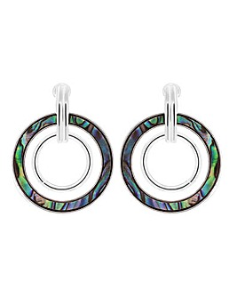 Silver Plated Abalone Circle Drop Earring