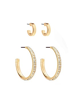 Gold Plated Crystal 2 Pack Hoop Earrings