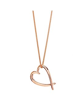 Sterling Silver 925 Rose Gold Crossover Heart Necklace