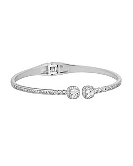 Silver Plated Crystal Open Hinge Bangle
