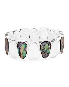 Silver Plated Abalone Effect Stretch Bracelet