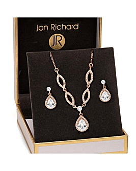 Jon Richard Rose Gold Pear Matching Set