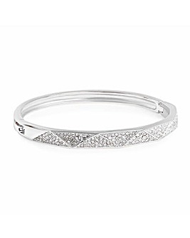 Silver Plated Pave Pyramid Bangle