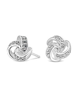 Sterling Silver 925 Cubic Zirconia Knot Stud Earring