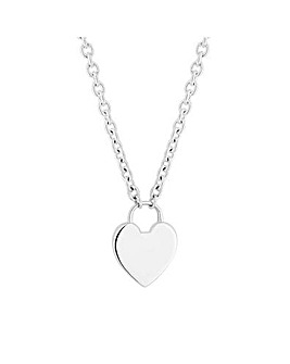 Sterling Silver 925 Polished Heart Lock Necklace