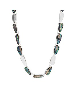Silver Plated Abalone Inlay Necklace