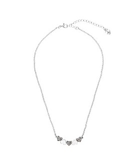 Lipsy Silver Polished & Heart Necklace