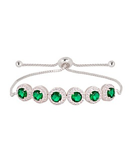 Jon Richard Silver Green Toggle Bracelet