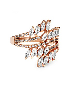 Rose Gold Plated Twisted Navette Cubic Zirconia Ring