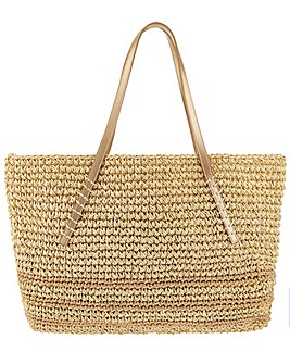 Monsoon Cassie Stripe Straw Shoulder Bag