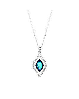 Silver Plated Blue Frame Necklace Embellished With Swarovski Crystals