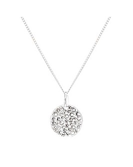 Sterling Silver 925 Pave Disc Pendant Embellished With Swarovski Crystals
