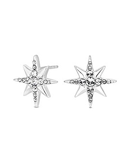 Sterling Silver 925 North Star Stud Earring Embellished With Swarovski Crystals