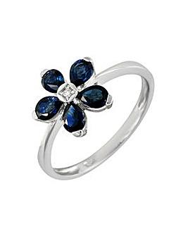 9ct W/G Sapph & Dia Ring