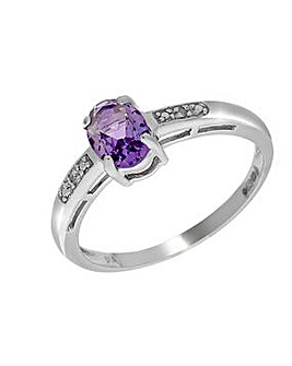 9ct W/G Amethyst & Dia Ring