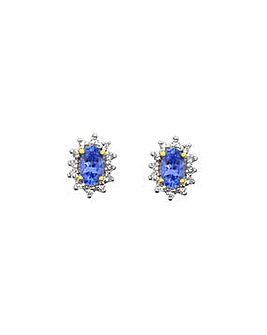 9ct Y/G Tanzanite & Dia Ear