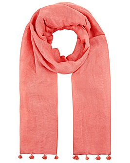 Monsoon Pip Plain Tassel Linen Scarf