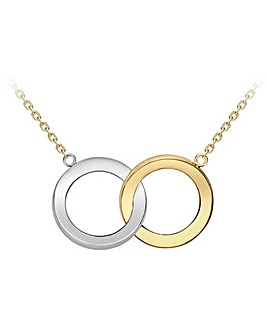9Ct Gold 2 Circle Pendant on 18in chain