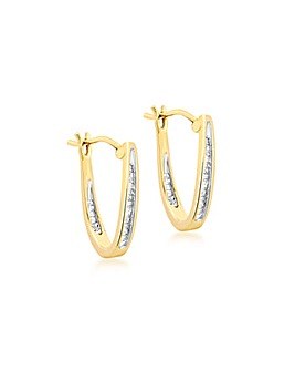 9 Ct Yellow Gold Diamond Drop Earrings