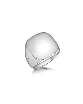 Mens Silver Square Signature Ring
