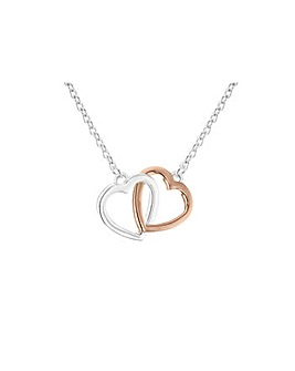 Silver Double Heart Pendant on chain