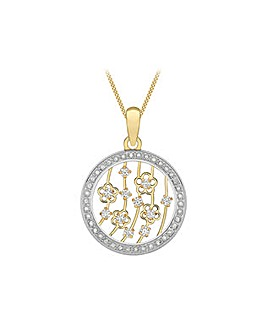 9Ct Gold Round Pendant on 18inch Chain
