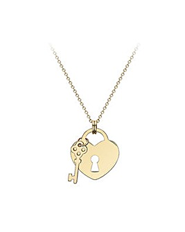 9Ct Gold Padlock Heart Pendant on Chain