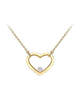 9 Ct Gold  Heart Pendant on 18inch chain