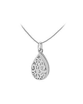 Sterling Silver Pear Locket Pendant