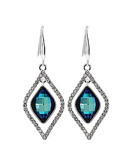 Jon Richard Silver Blue Frame Earrings
