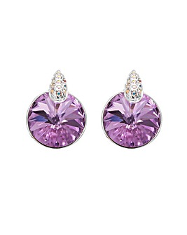 Silver Plated Lilac Pave Stud Earring Made With Swarovksi Crystals