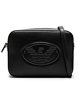 Emporio Armani Raised Eagle Pebbled Camera Bag
