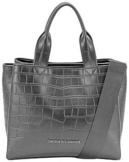 Smith & Canova Croc Print Leather Structured Grab Bag