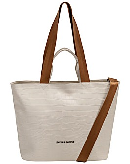 Smith & Canova Croc Print Leather E/w Tote / Shoulder