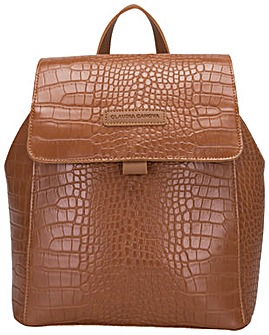 Claudia Canova Beth Flap Over Croc Effect Backpack