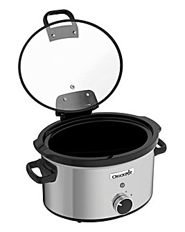 Crockpot CSC04 3.5Litre Hinged Lid Manual Lift & Serve Brushed Steel Slow Cooker