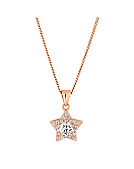 Simply Silver Rose Gold Star Pendant