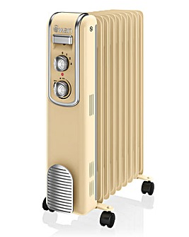 Swan 9 Finned 2000W Cream Retro Oil Filled Radiator