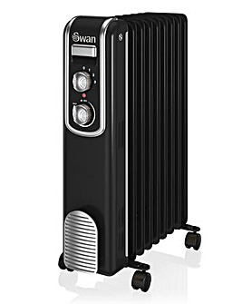 Swan 9 Finned 2000W Black Retro Oil Filled Radiator