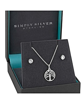 Simply Silver Tree Of Life Pendant Set