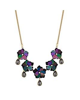 Mood Black Sequin Floral Necklace