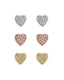 Simply Silver Heart Stud Earring 3 Pk