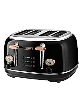 Tower 4 Slice Black Toaster