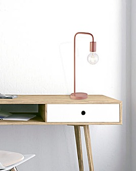 Colton Exposed Bulb Matt Pink Desk Lamp