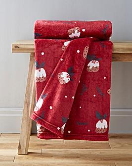 Christmas Pudding Fleece Throw