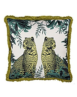 Leopard Fringed Cushion