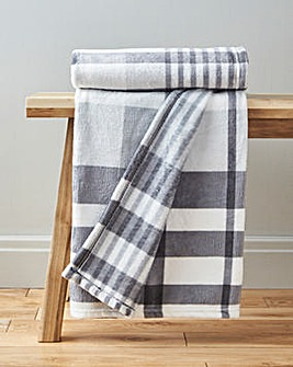 Check Printed Fleece Throw